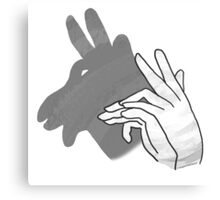 Hand Silhouette Billy Goat Gray Canvas Print