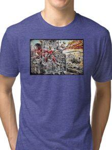 Doof Warrior, Mad Max, Art, Guitar Player, guitar, flame guitar, flame, fury road, joe badon Tri-blend T-Shirt