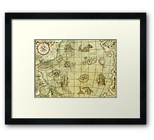 Sea Monsters Map Framed Print