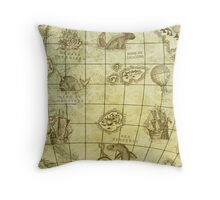 Sea Monsters Map Throw Pillow