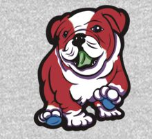 Happy Bulldog Puppy Red and White  One Piece - Long Sleeve