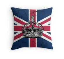 British union jack flag jubilee vintage crown  Throw Pillow