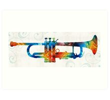 Colorful Trumpet Art Color Fusion By Sharon Cummings  Art Print