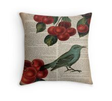 shabby chic hipster teal bird botanical cherry  Throw Pillow