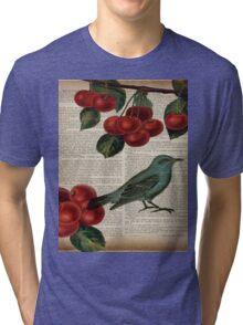 shabby chic hipster teal bird botanical cherry  Tri-blend T-Shirt