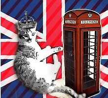 uk union jack flag london telephone booth funny royal kitty cat by lfang77