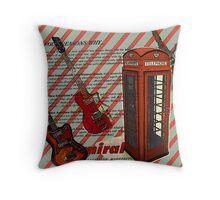 modern british rock music london telephone retro guitar  Throw Pillow