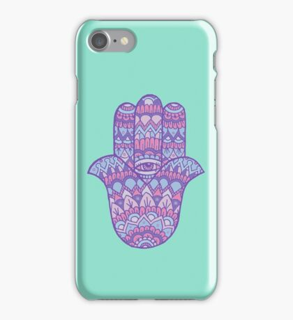 Hamsa Hand: Pink/Blue iPhone Case/Skin
