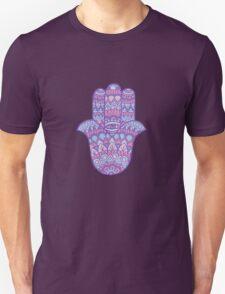 Hamsa Hand: Pink/Blue T-Shirt