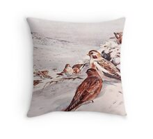 Winter Scene with Snow Buntings Throw Pillow