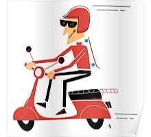 Skater on a scooter Poster