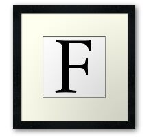 F, Alphabet Letter, EFF, Foxtrot, Frank, A to Z, 6th Letter of Alphabet, Initial, Name, Letters, Tag, Nick Name Framed Print