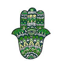Hamsa Hand: Green Photographic Print