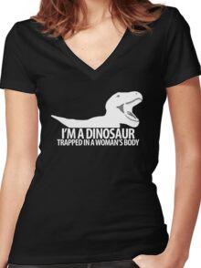 """""""Dinosaur on the inside"""" lighter edit Women's Fitted V-Neck T-Shirt"""