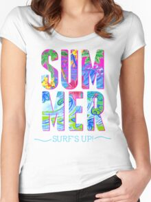 Hawaiian waves pattern and Summer t-shirt Women's Fitted Scoop T-Shirt