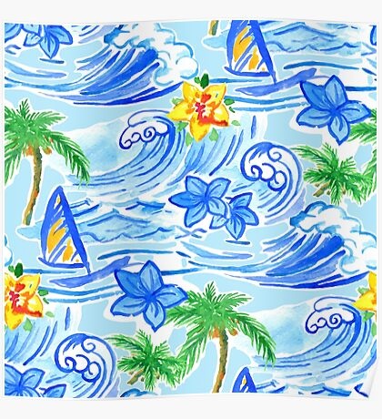 Hawaiian waves pattern and Summer t-shirt Poster