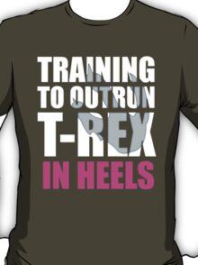 Outrun a T-Rex - White text T-Shirt