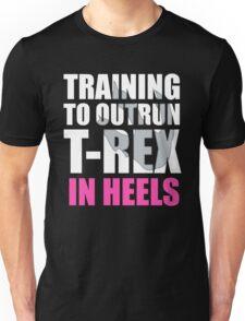 Outrun a T-Rex - White text Unisex T-Shirt