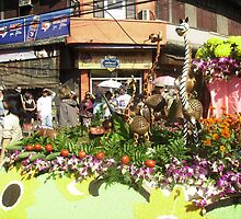 Carved Giraffes & Flowers on Festival Float. by Mywildscapepics
