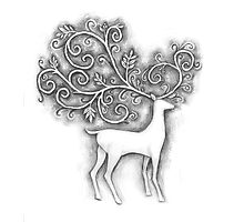 Decorative deer Photographic Print