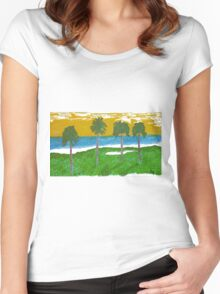 Palm Trees Golf Course Ocean Women's Fitted Scoop T-Shirt