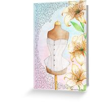 Fashion illustration victorian corset on mannequin and lilies Greeting Card
