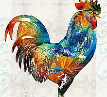 Colorful Rooster Art by Sharon Cummings by Sharon Cummings