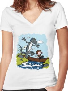 Jurassic World - Owen and Blue Women's Fitted V-Neck T-Shirt