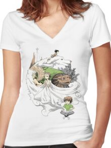 The Neverending Story - Montage  Women's Fitted V-Neck T-Shirt