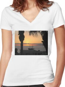 Sunsetting on the Tall Ship Women's Fitted V-Neck T-Shirt