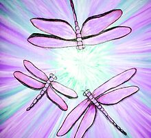 Dragonflies in purple by artinsoulorg