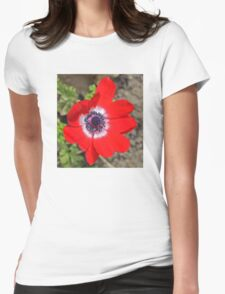 Vivid Red Anemone flower Womens Fitted T-Shirt