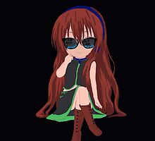Nerdy Chibi Wearing Sunglasses and Sitting  by Troxbled