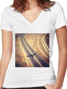 Plane Crossing Women's Fitted V-Neck T-Shirt