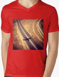 Plane Crossing Mens V-Neck T-Shirt
