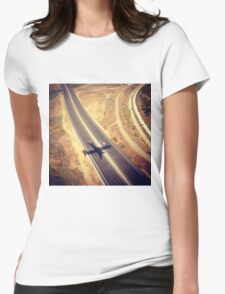 Plane Crossing Womens Fitted T-Shirt