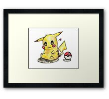 Cute Pikachu Watercolor Framed Print