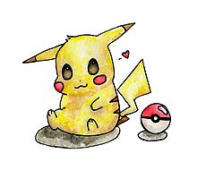 Cute Pikachu Watercolor Photographic Print