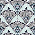 Deco Doodle in Aqua, Cream & Navy Blue by micklyn