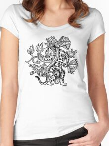 Mayan Jaguar with Lotus Women's Fitted Scoop T-Shirt