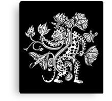 Mayan Jaguar with Lotus Canvas Print