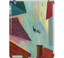 Black cat in the city iPad Case/Skin
