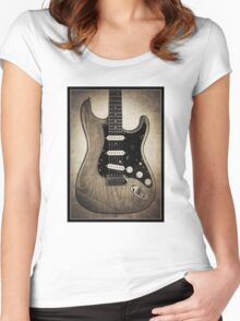 Fender Stratocaster Sepia Border Women's Fitted Scoop T-Shirt