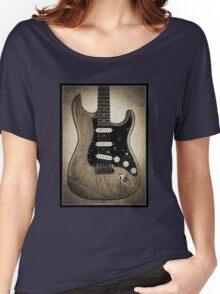 Fender Stratocaster Sepia Border Women's Relaxed Fit T-Shirt