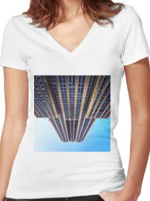 My view of the Empire State Building Women's Fitted V-Neck T-Shirt