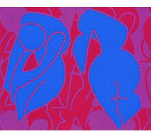 Twinned nudes. Digital abstract design based on two leaning figures. Photographic Print