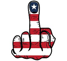 Middle Finger USA Flag Photographic Print