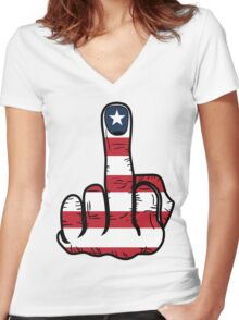 Middle Finger USA Flag Women's Fitted V-Neck T-Shirt