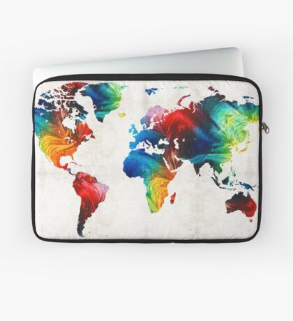 World Map 19 - Colorful Art By Sharon Cummings  Laptop Sleeve