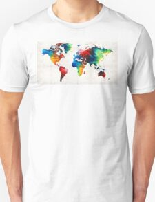 World Map 19 - Colorful Art By Sharon Cummings  T-Shirt